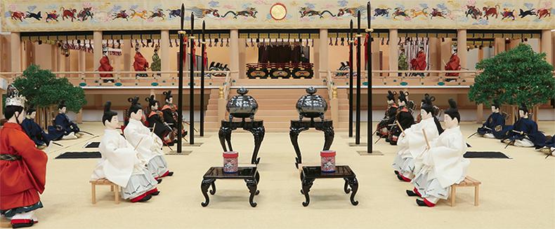 東山天皇御即位式図屏風再現模型 | 日本服飾史